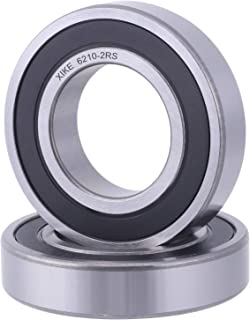 XiKe 2 Pcs 6210-2RS Double Rubber Seal Bearings 50x90x20mm, Pre-Lubricated and Stable Performance and Cost Effective, Deep Groove Ball Bearings.