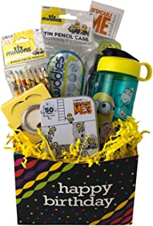 Happy Birthday Boy Gift Box Despicable Me Minions Gift Basket Prefilled with Toys, Activities Ages 5-8