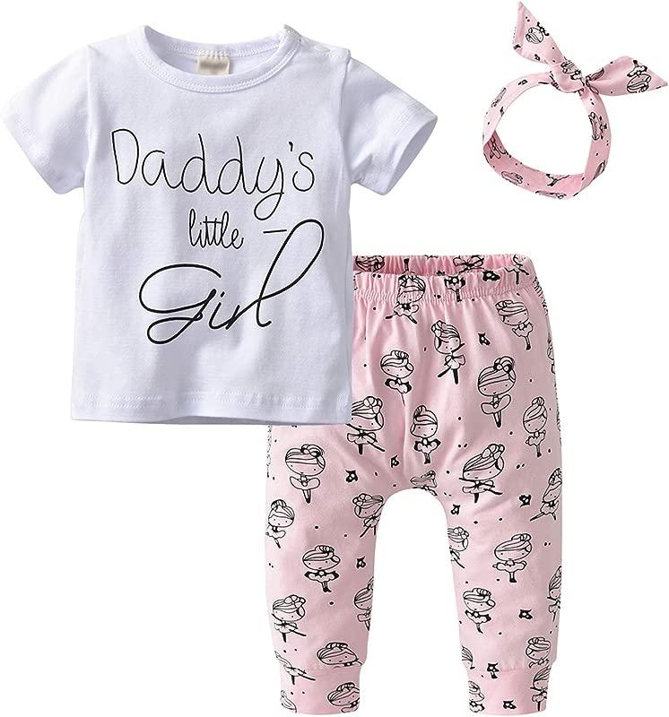 Derouetkia Newborn Baby Girls 3Pcs Outfit Set Letters Daddy Little Girl T Shirt Tops Cartoon Pants With Headband