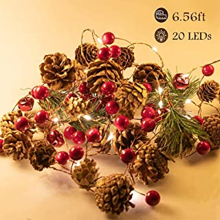 Fun Gift Christmas Garland Lights String 6.7Ft Battery Operated Decorations Light, with Pine Cone Red Berry Jingle Bell 20...