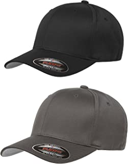 Unisex Wooly Combed Twill Cap (6277) 2-Pack (XL/XXL, Black & Dark Gray)