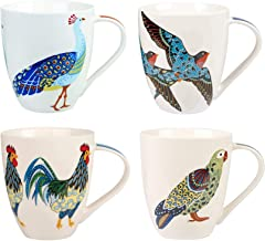 Churchill China Queens Paradise Birds Colourful Swallows Rooster Parrot Peacock Mug Cup Set of 4 500ml 16.9 fl oz