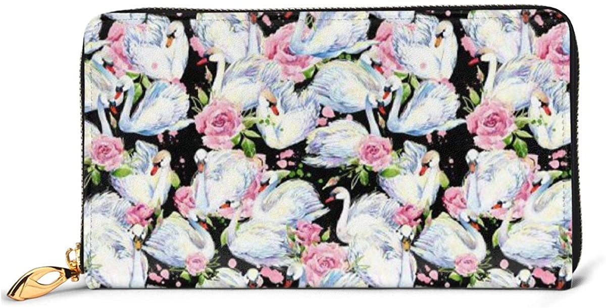 Swan Pattern Womens Inventory cleanup selling sale Wallet Genuine Max 77% OFF Card Wallets Credit Leather C