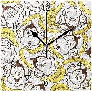 Söt djur apa banan väggklocka tyst icke-tickande fyrkantig konstmålning klocka för hem kontor skoldekor