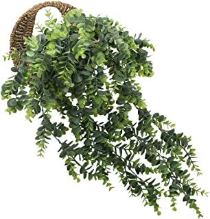 XYXCMOR Eucalyptus Leaves 2pcs Artificial Greenery Garland Flocked Fake Hanging Plants for Weeding Farmhouse Party Home Shelve Wall Hanging Basket Decor