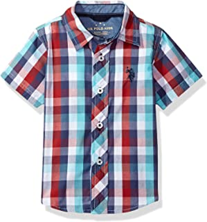 Boys' Cotton Plaid Short Sleeve Woven Sport Shirt