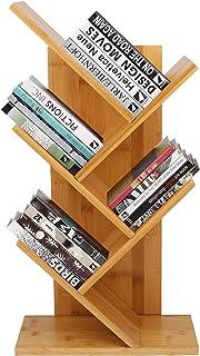 Barbieya Bibliothèque à poser au sol en forme d'arbre en bambou, 4 étages, pour livres et magazines, pour le bureau et la ...