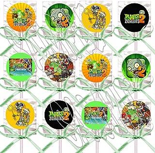 Plants vs Zombies 2 Lollipops Video Game Party Favors Supplies Decorations Lollipops with Mint Green Ribbon Bows Party Favors -12 pcs