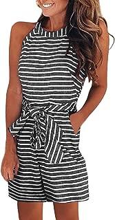 Women Summer Striped Sleeveless Back Zipper Wide Short Pants Rompers Jumpsuits