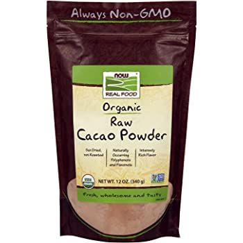 NOW Foods, Organic Raw Cacao Powder, with Polyphenols and Flavonols, Sun-Dried, Intensely Rich Flavor, 12-Ounce