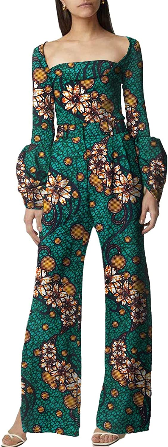 Africa Style Suits for Women African Dashiki Shirts and Trousers Two Piece Sets Floral Print Long Sleeve Attires