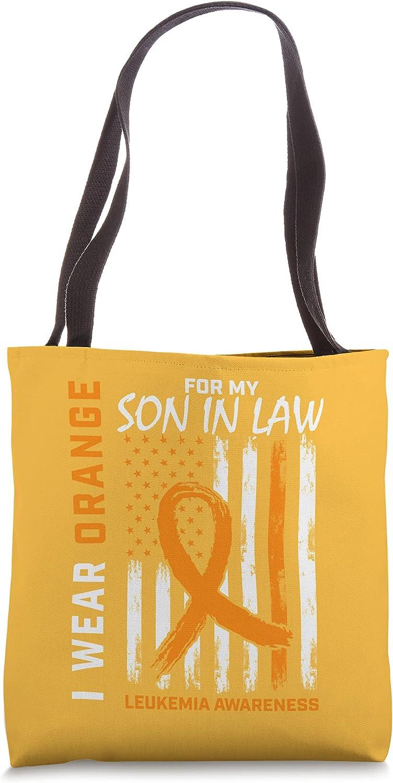 I Wear Orange Max 66% OFF Son In Law B mart Tote Awareness Leukemia Flag American