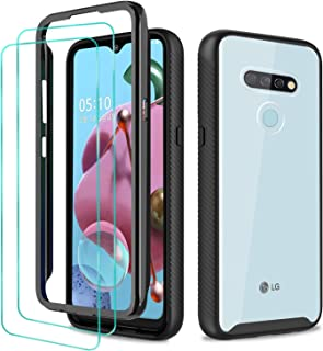 STOOKY Phone Case for LG K51 / LG Q51 2020, with 2 Pack HD Tempered Glass Screen Protector; Full-Body Heavy Duty Shockproof Bumper Cover, Black and Clear