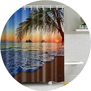 1PC Green Tropical Plants Shower Curtains for Bathroom Polyester Seaworld Shower Curtain Printing Curtain Beach Shower Curtains,23,W165xH180cm