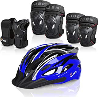 JBM 7 Pieces Protective Gear Set- Bike Helmet for Adult Knee&Elbow Pads and Wrist Guards, Adjustable Cycling Helmet with ...