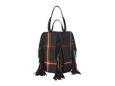 Salvatore Ferragamo Fashion Show Bucket Bag (Nero/Multi Flannel) Drawstring Handbags