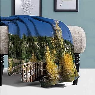 YOLIYANA Fall Decor Comfortable Print Blanket,Autumn in Banff National Park Serene Canada Landscape Yellow Trees Bridge for Home,49''Lx78''W