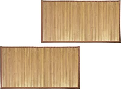 "mDesign Soft Bamboo Rectangular Spa Mat Rug Fabric Trim, Water Resistant Bathroom Vanity, Bathtub/Shower, Easy Clean, Environmentally Friendly - 21"" x 34"" - Pack of 2, Natural"