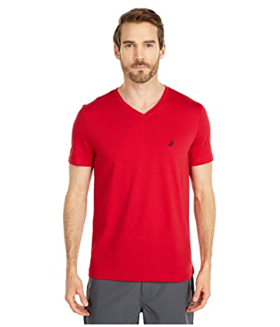 Nautica Short Sleeve V-Neck Tee (Red 1) Men