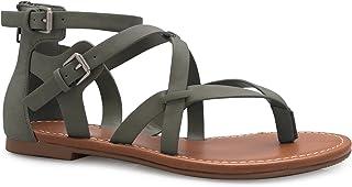 COLIVIA K Women's Strappy Gladiator Flat Sandals- Casual Dress Low Flat Heel- Adjustable, Comfort