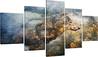 Yatsen Bridge Decor for Homes 5 Panel Canvas Double Exposure Print Artwork Wall Art The Wolf on The Background of Autumn Forest Painting Modern Poster Decor for Indoor Ready to Hang(60''W x 32''H)