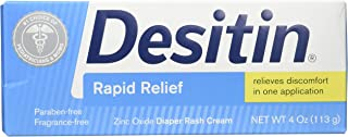 DESITIN Rapid Relief Zinc Oxide Diaper Rash Cream 4 oz (Pack of 3)