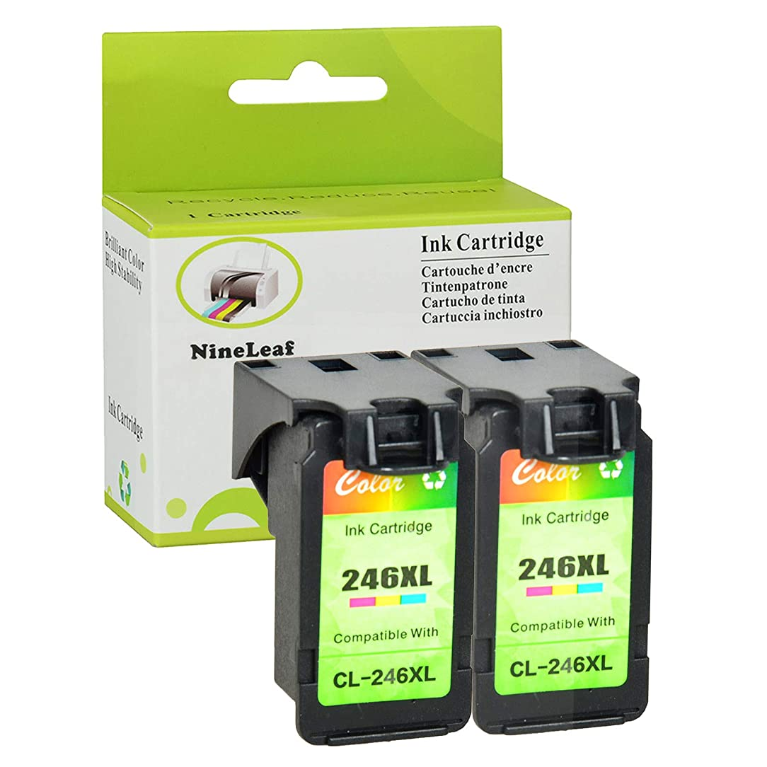 NineLeaf Remanufactured Ink Cartridge Replacement for Canon CL-246XL 246XL for Pixma MX492 MG2920 MG2520 iP2820 MG2922 MG2420 MG2522 MG3022 MG2924 Series Printer (Tri-Color,2 Pack)
