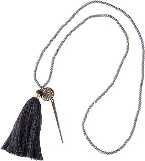 KELITCH Triangular Pyramid Pendant Necklace Long Crystal Beaded Tassel Statement Necklace