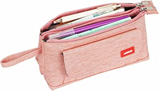 Pencil Case,Large Capacity Pencil Pouch Bag Holder Box School Office Stationary Journaling Supplies Travel Luggage Pouch Make up Cosmetic Bag for Teen Girl Boy Men Women Adults (Pink)