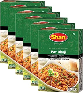 Shan Bundle - Pack of 6 ( Shan Pav Bhaji Recipe and Seasoning Mix- 50g Spice Powder, Mix for Punjabi Style Mild Chickpeas Curry ).