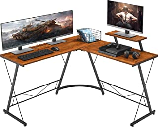 """Mr IRONSTONE L-Shaped Desk 50.8"""" Computer Corner Desk, Home Gaming Desk, Office Writing Workstation with Large Monitor Stand, Space-Saving, Easy to Assemble, (Vintage)"""