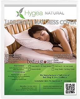 Hygea Natural Mattress Cover or Box Spring Cover   Luxurious 100% Waterproof Mattress Protector - Dust Mite & Allergen Proof Mattress Encasement, XL Twin