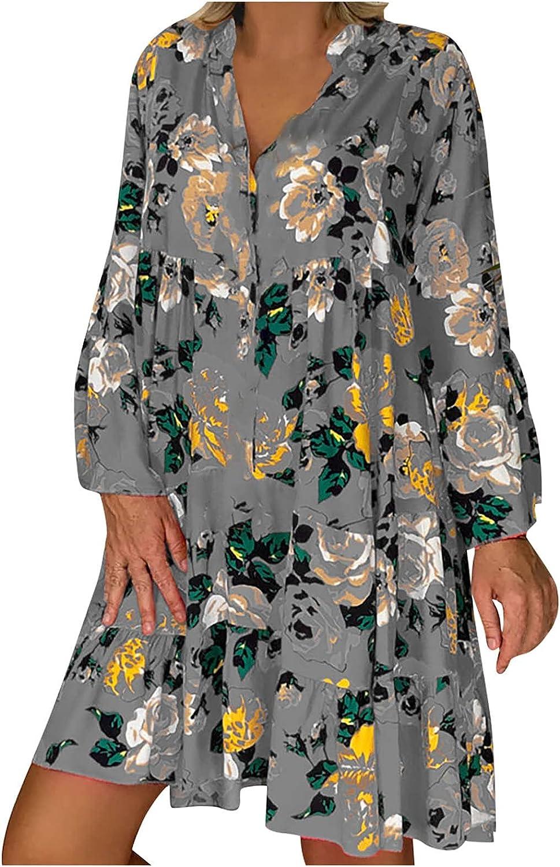KIKX0DE Deep V Neck Mini Dresses for Women Loose Blouse Fashion Print Three-Quarter Sleeves Ruffled Plus Size Dress