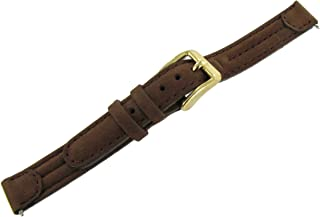 12mm Speidel Express Ladies Tunnel Suede Leather Padded Stitched Brown Watch Band