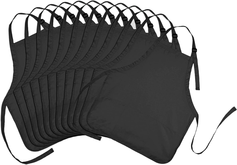 DALIX Apron Commercial Restaurant Home Bib Spun Poly Cotton Kitchen Aprons (3 Pockets) in Black 12 Pack