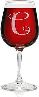 On The Rox Drinks Engraved Wine Glass, 12.75 C-Monogram