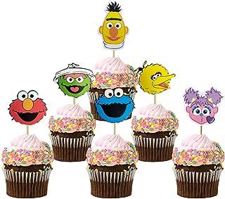 24 pcs Sesame Street Cake Topper, Birthday Party Supplies Cupcak Decorations