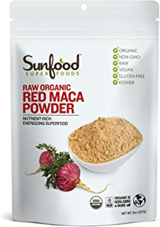 Sunfood Superfoods Red Maca Powder- Raw Organic. 8 oz Bag