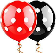 Sepco 12 Inch 100 Pcs Latex Balloons Black and Red with White Polka Dot Balloons for Wedding Birthday Party Decorations