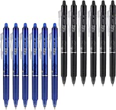Pilot FriXion Clicker 0.7mm, Erasable Gel Pens, Fine Point, 6 Black & 6 Blue (12 Pens)