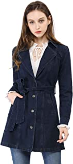 Allegra K Women's Notched Lapel Belted Trench Long Jean Denim Jacket