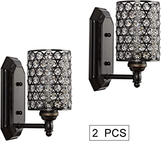 Doraimi 1 Light Crystal Wall Sconce Lighting with Painting Black Finish(set of 2),Modern and Concise Wall Light Fixture with Polyhedral Opal Crystal Shade for Bath Room, Bed Room,LED Bulb(not include)