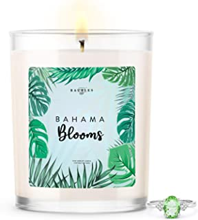 Kate Bissett Baubles Bahama Blooms Scented Premium Candle and Jewelry with Surprise Ring Inside   10 oz Large Candle   Made in USA   Parrafin Free   Size 06