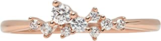 0.28ct Brilliant Round Cut cluster Pyramid Statement Solitaire Stacking Band 14K Rose Gold