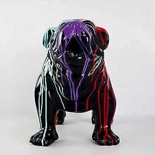 Statue résine Chien Bouledogue Anglais - Multicolore Noir - H45XL58cm