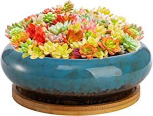 Peohud 7 Inch Round Ceramic Succulent Planter, Glazed Ceramic Bonsai Pots, Flower Container Pots Garden Decorative Cactus Stand with Drainage Hole, Bamboo Tray, Blue