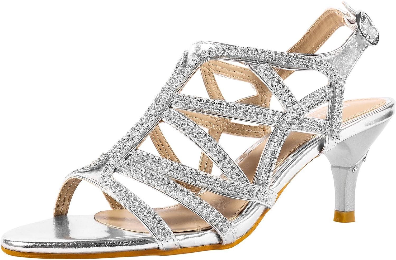 SheSole Women's Rhinestone Dress Sandals Low Heel Prom Wedding shoes