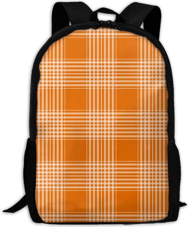 Backpack Laptop Travel Hiking School Bags Plaid Checks orange Daypack Shoulder Bag