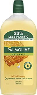 Palmolive Naturals Liquid Hand Wash Soap Milk and Honey Nourishing Refill and Save 0% Parabens Recyclable, 500mL