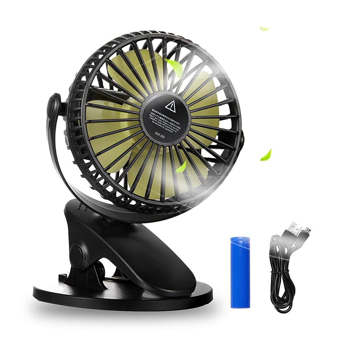 Battery Operated Clip on Fan, HOCOMO Baby Stroller Fan with 3 Speeds 360° Rotation Rechargeable Battery USB Powered Quite Mini Desk Fan for Office, Home, Gym, Dorm, Camping, Travel, Indoor and Outdoor